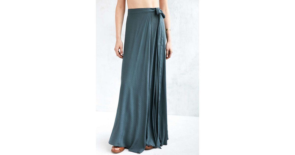 893158d03362 Ecote Zella Boho Wrap Maxi Skirt in Blue - Lyst