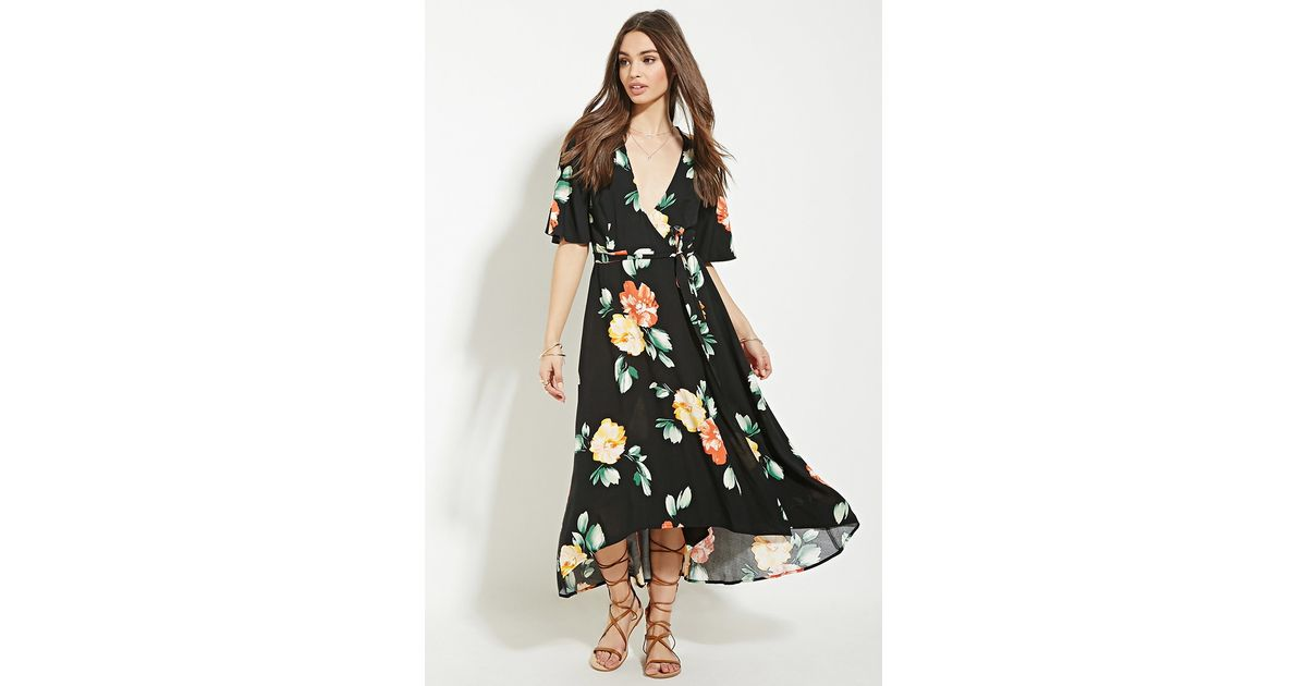 5a69c4d4f9f Forever 21 Floral Print Wrap Midi Dress in Black - Lyst