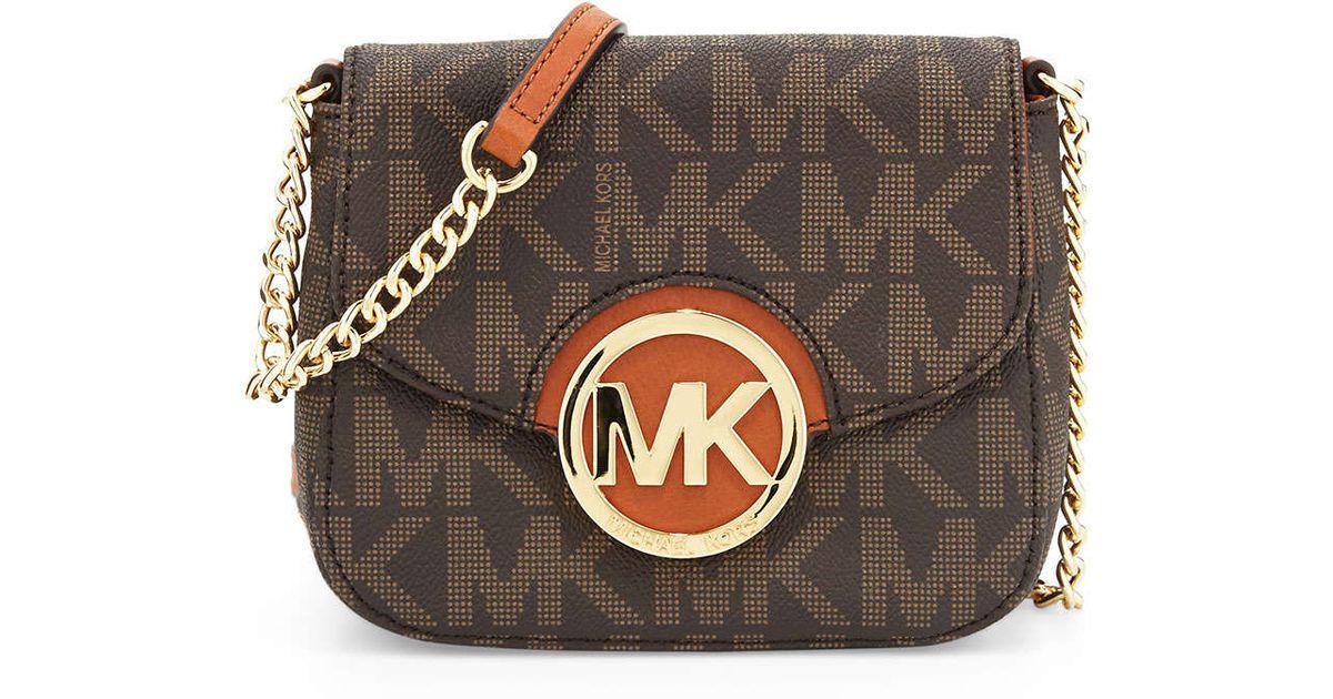 70b203d05b45 MICHAEL Michael Kors Small Fulton Logo Crossbody Bag in Brown - Lyst