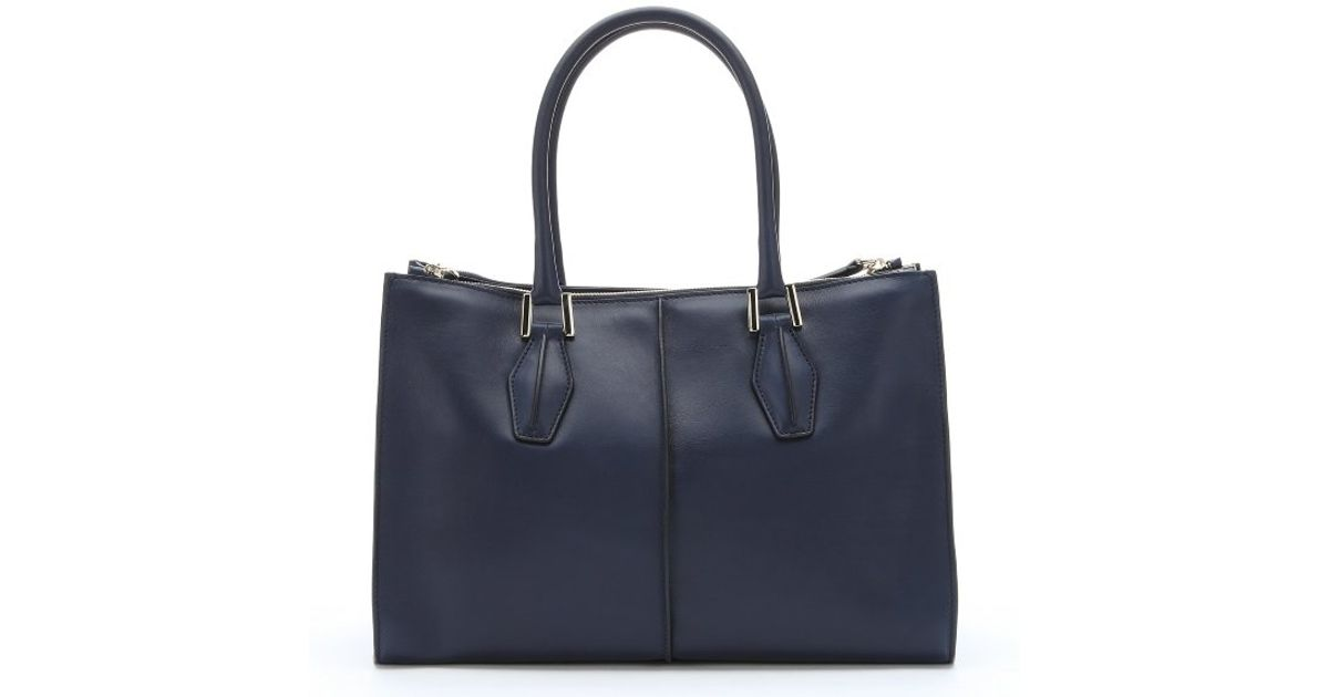 3929b62e7c Lyst - Tod s Navy Blue Leather  d-cube  Structured Tote Bag in Blue