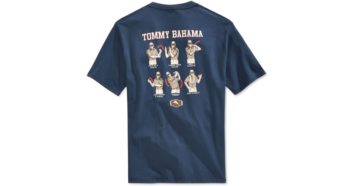 Tommy Bahama Referee Graphic Crew Neck T Shirt In Blue For