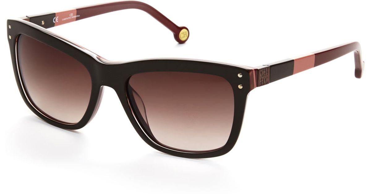 Carolina Herrera Brown She571 Wayfarer Sunglasses In Brown