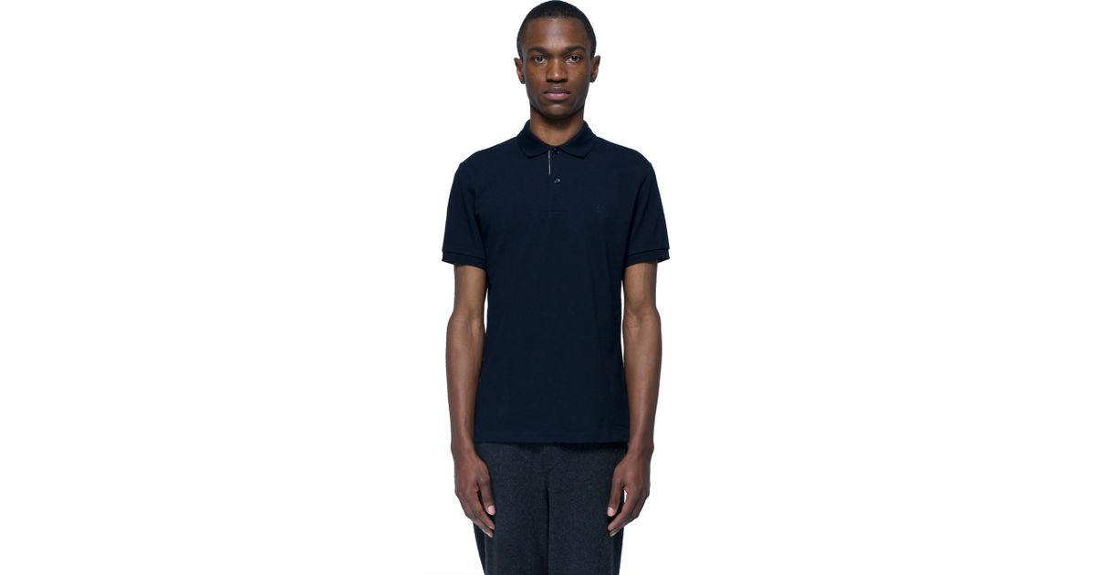 Burberry brit jersey polo in black for men lyst for Burberry shirt size chart
