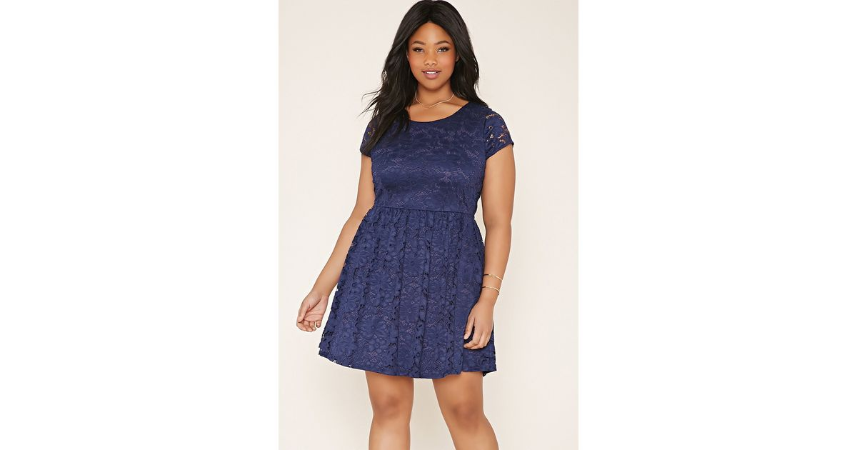 Forever 21 Plus Size Floral Lace Dress in Blue - Lyst