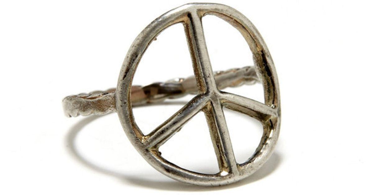 Lyst Bing Bang Peace Sign Ring In Metallic