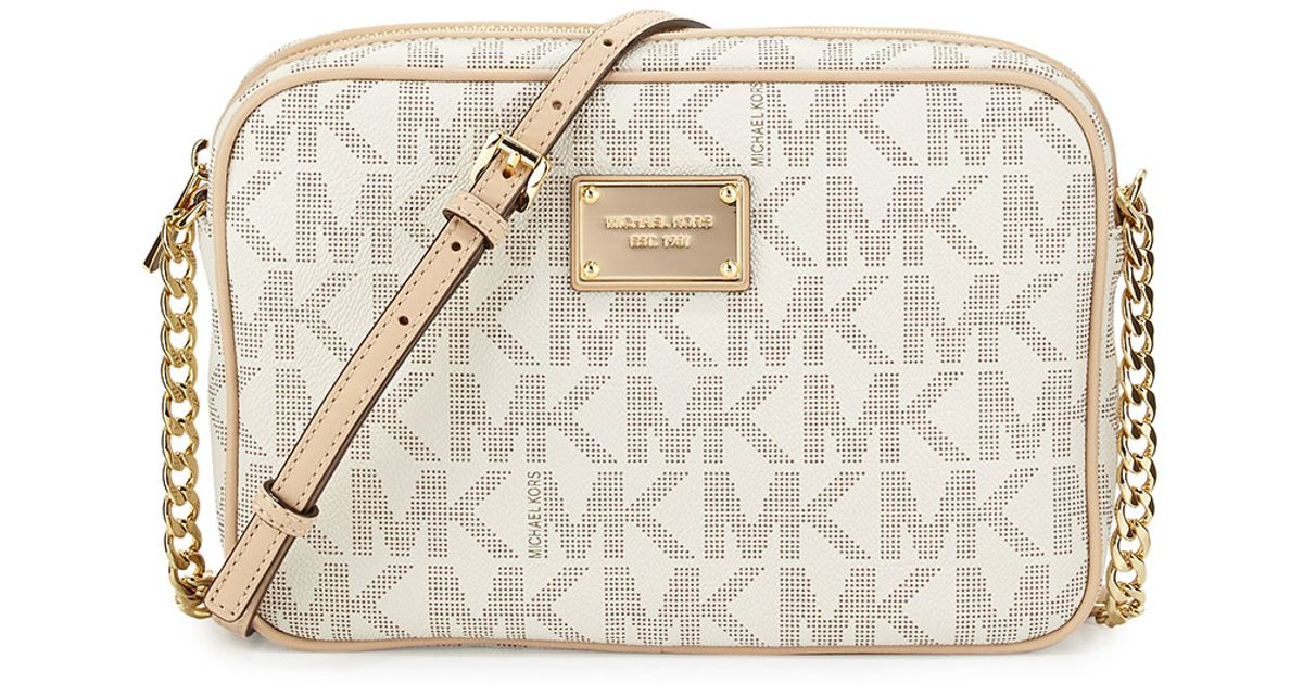 127f6842cad8c9 MICHAEL Michael Kors Jet Set Large Travel Crossbody in White - Lyst