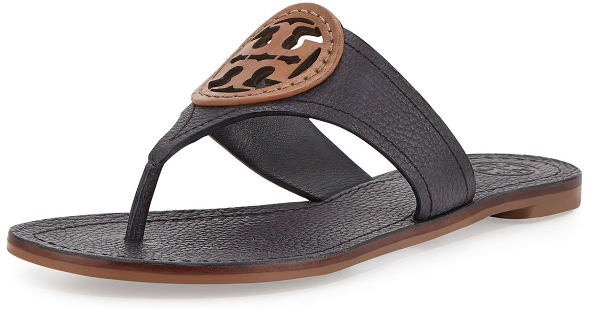 c4684ddce92 Lyst - Tory Burch Louisa Logo Leather Sandals in Gray