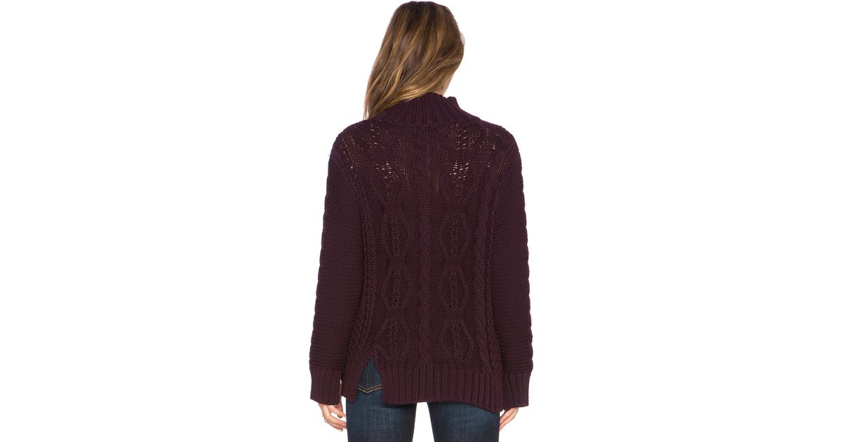 Lyst - 525 america Mixed Stitch Mockneck Cable Knit Sweater in Brown