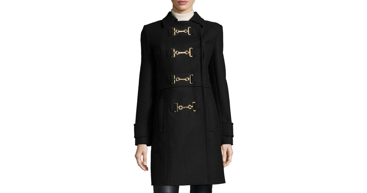 Michael michael kors Buckle-front Melton Wool Coat in Black for ...