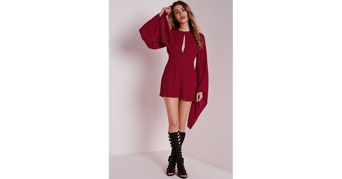 78f3f144ccd Lyst - Missguided Cape Sleeve Playsuit Burgundy in Red