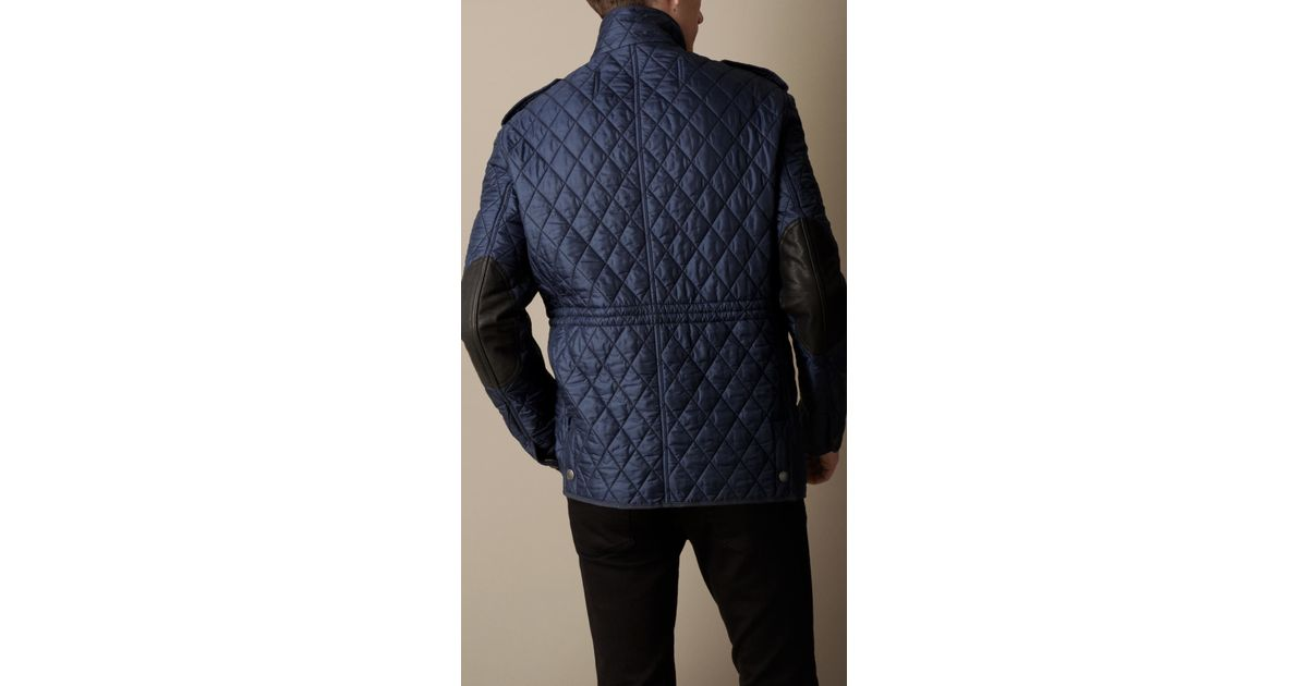 eccc8068f4e Burberry Diamond Quilted Field Jacket in Blue for Men - Lyst