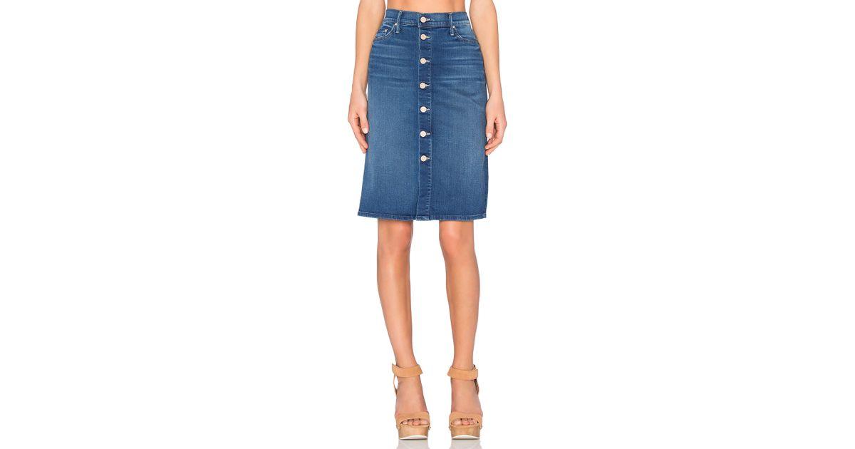 high waist button midi skirt in blue lyst