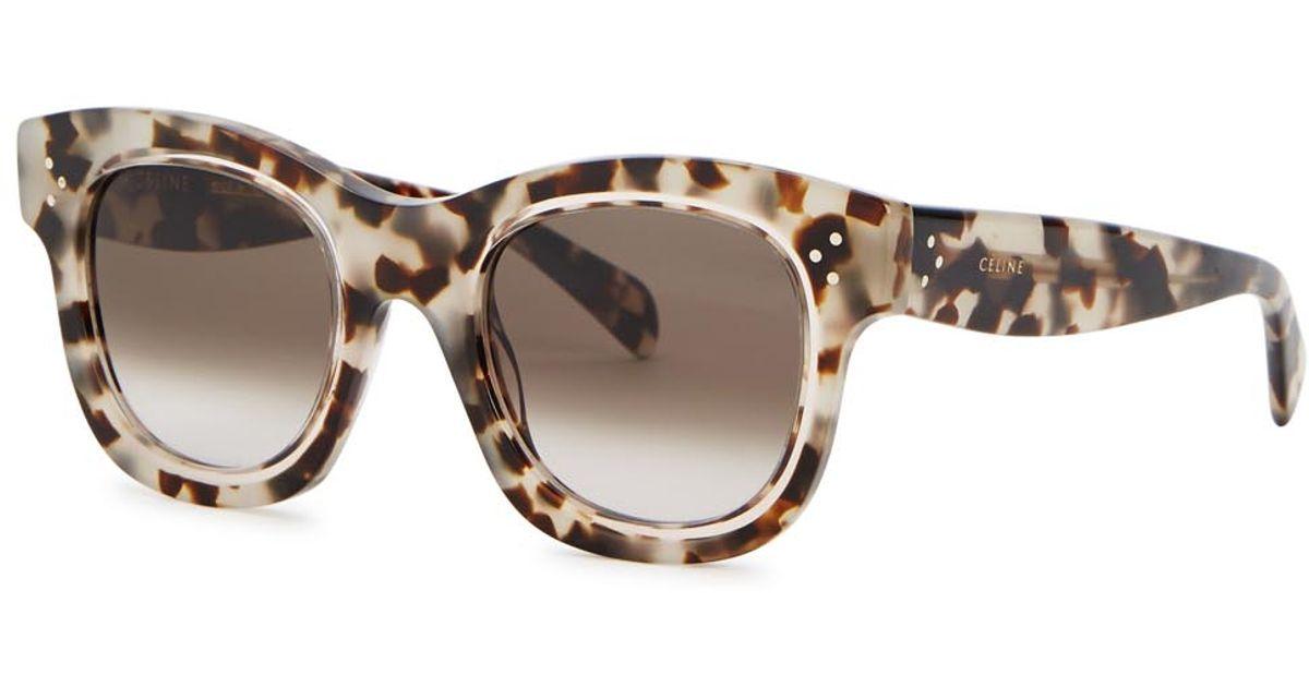 c7225d9362 Céline Helen Tortoiseshell Wayfarer-style Sunglasses in Brown - Lyst