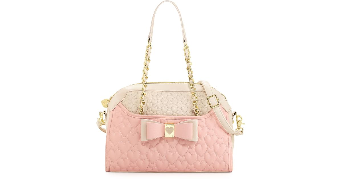 Lyst Betsey Johnson Colorblocked Quilted Heart Dome Satchel Bag Blush In Pink