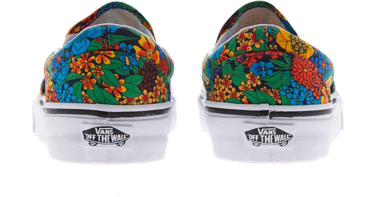 7977eabb6b Lyst - Vans Multicoloured Slip On Liberty Print Skate Shoes