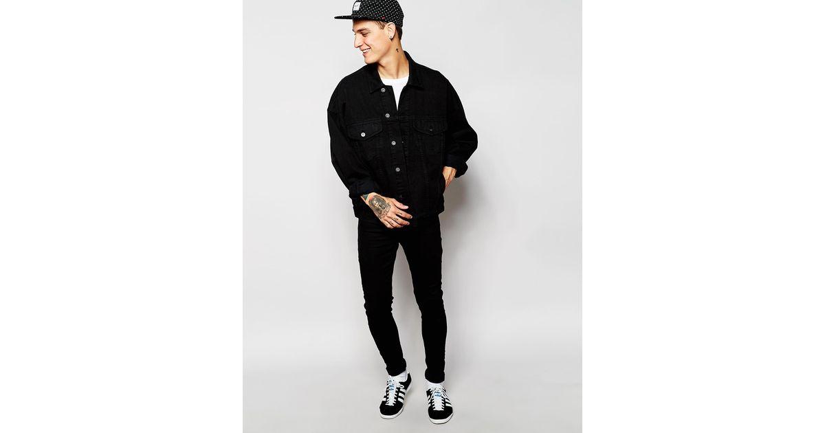 Lyst Asos Oversized Denim Jacket In Black In Black For Men