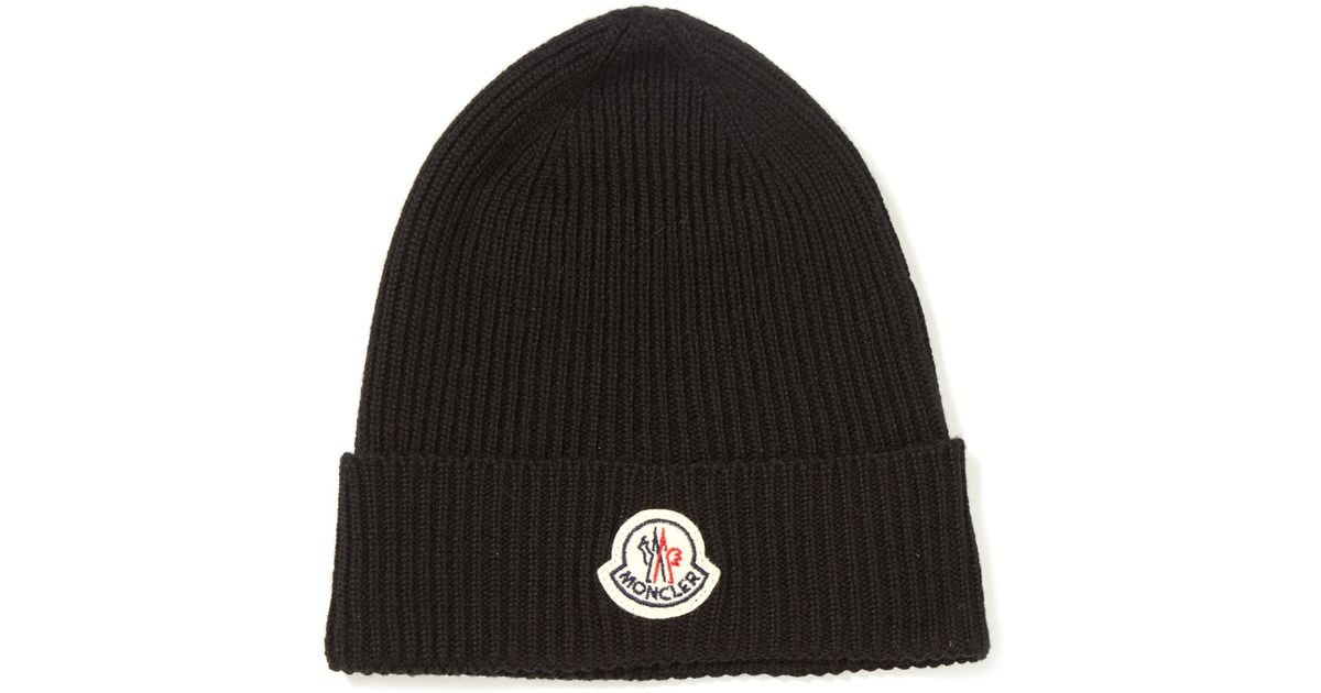 d56413ff835 Moncler Black Ribbed-knit Wool Beanie Hat in Black for Men - Lyst