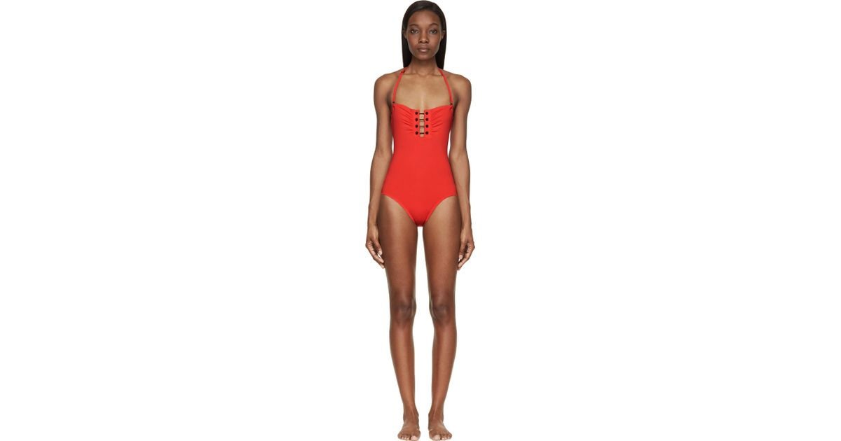 7325bd72402 Lyst - Proenza Schouler Crimson Barbell Bandeau One_piece Swimsuit in Red