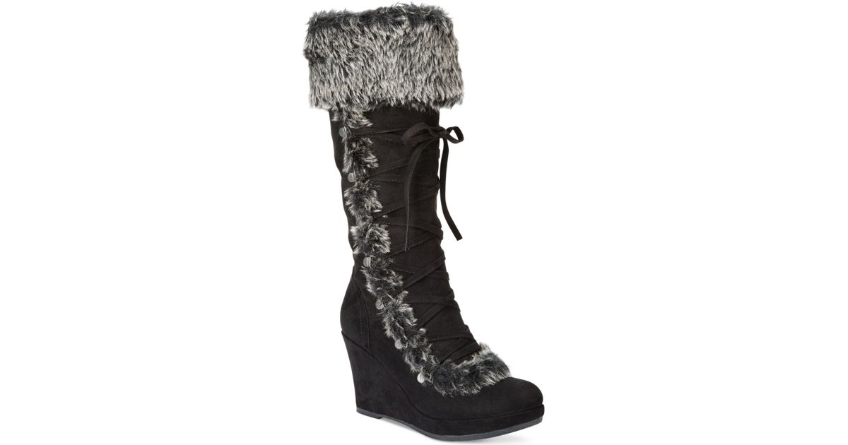 report pearson cold weather wedge boots in black lyst
