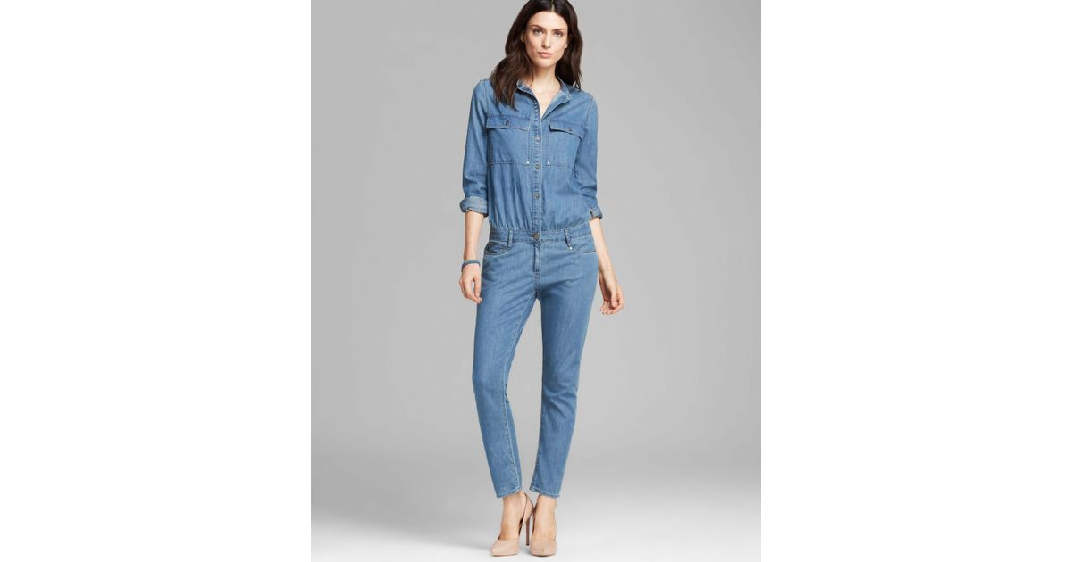 ebd3a7fda8c81 PAIGE Jumpsuit Lexie Cuffed Denim in Blue - Lyst