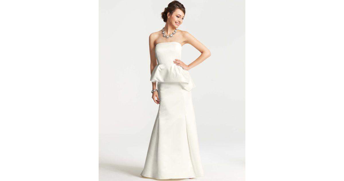 Lyst - Ann Taylor Duchess Satin Strapless Peplum Wedding Dress in White