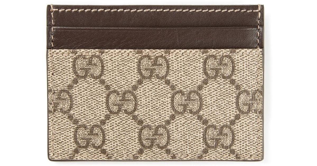lyst gucci signature monogram cardholder in brown for men