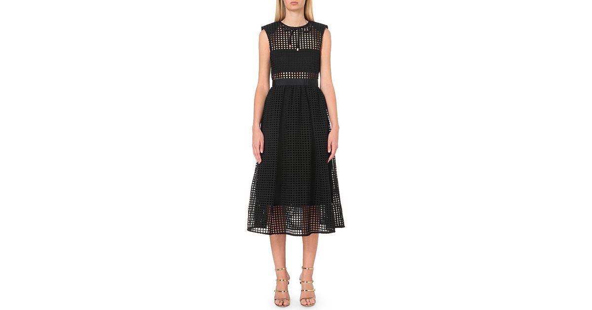 6b176c4305f5 Self-Portrait Freya Embroidered Dress, Women's, Size: 4, Black in Black -  Lyst