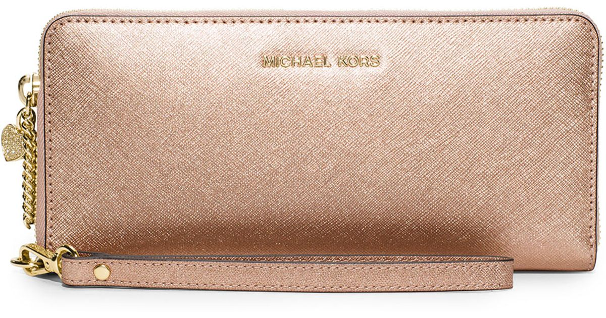 35dfa6704c39 ... rose gold saffiano leather cross body bag tradesy f9a38 7d3dc; new  zealand lyst michael kors alex travel continental wallet in metallic 9b912  e0a09
