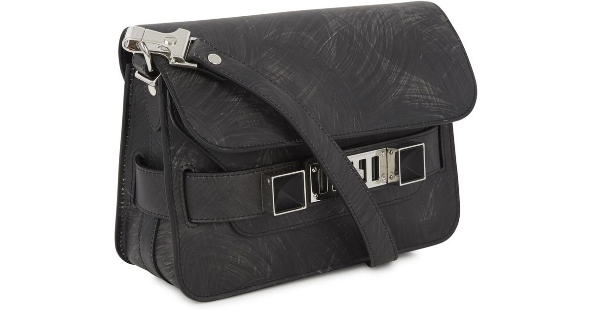 34246d5b823e Proenza Schouler Ps11 Charcoal Brushstroke Print Leather Shoulder Bag in  Gray - Lyst