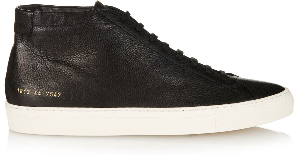 2e34b21d2f77 Common Projects Achilles Mid-Top Leather Trainers in Black for Men - Lyst