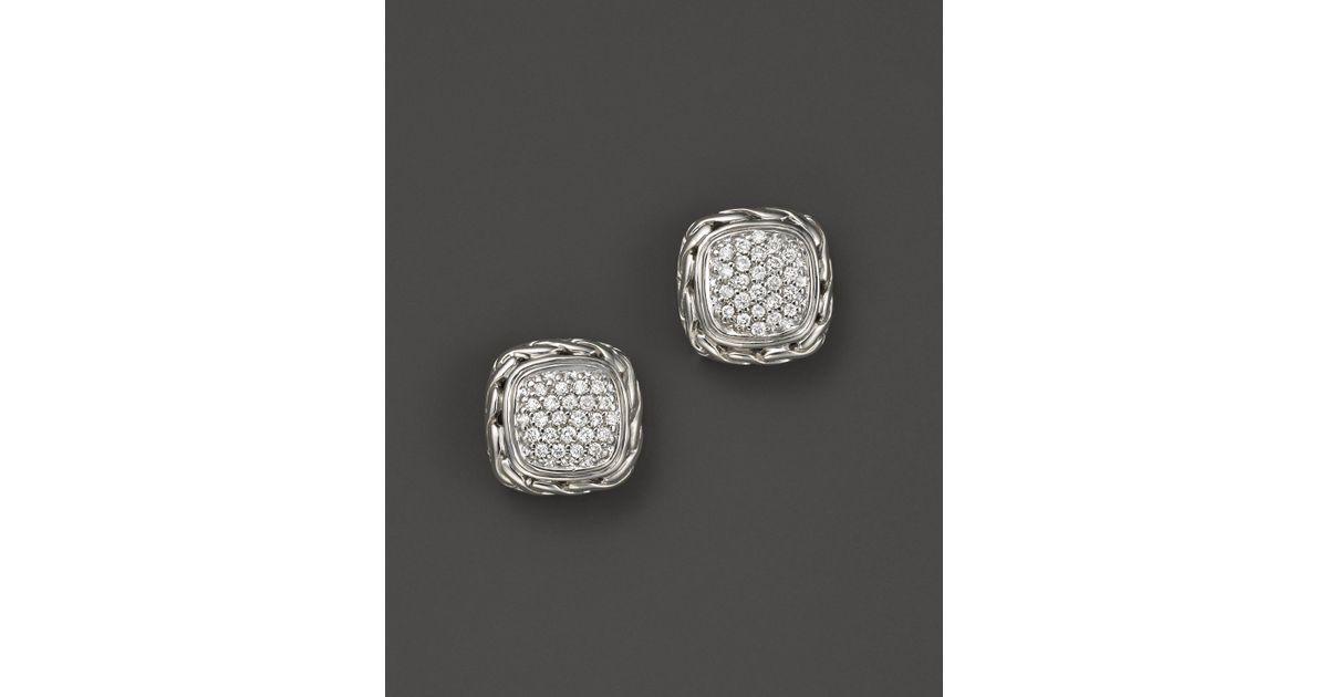 John Hardy Classic Chain Pavé Diamond Square Earrings 04ww03Nzqs