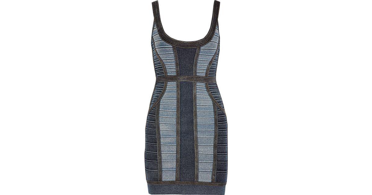 6863c8dc45f Hervé Léger Aja Bandage Dress in Blue - Lyst