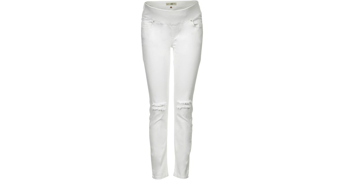 355c67288d48c TOPSHOP Maternity Moto White Ripped Jamie Jeans in White - Lyst