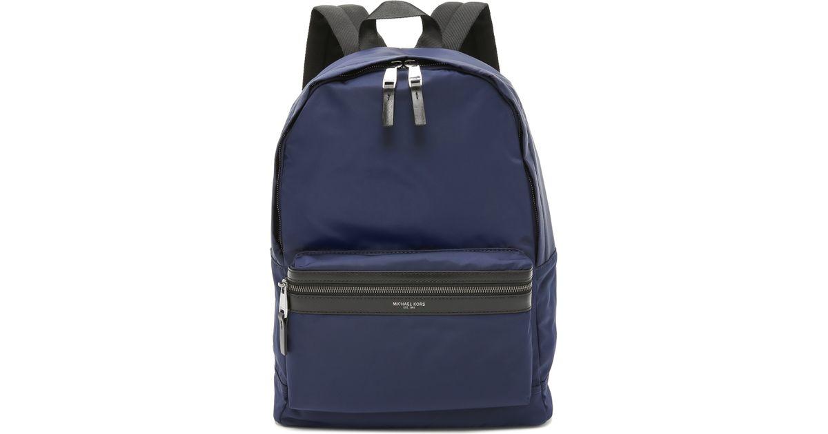 e0f1b42ac2d3 Lyst Michael Kors Kent Nylon Backpack In Blue For Men