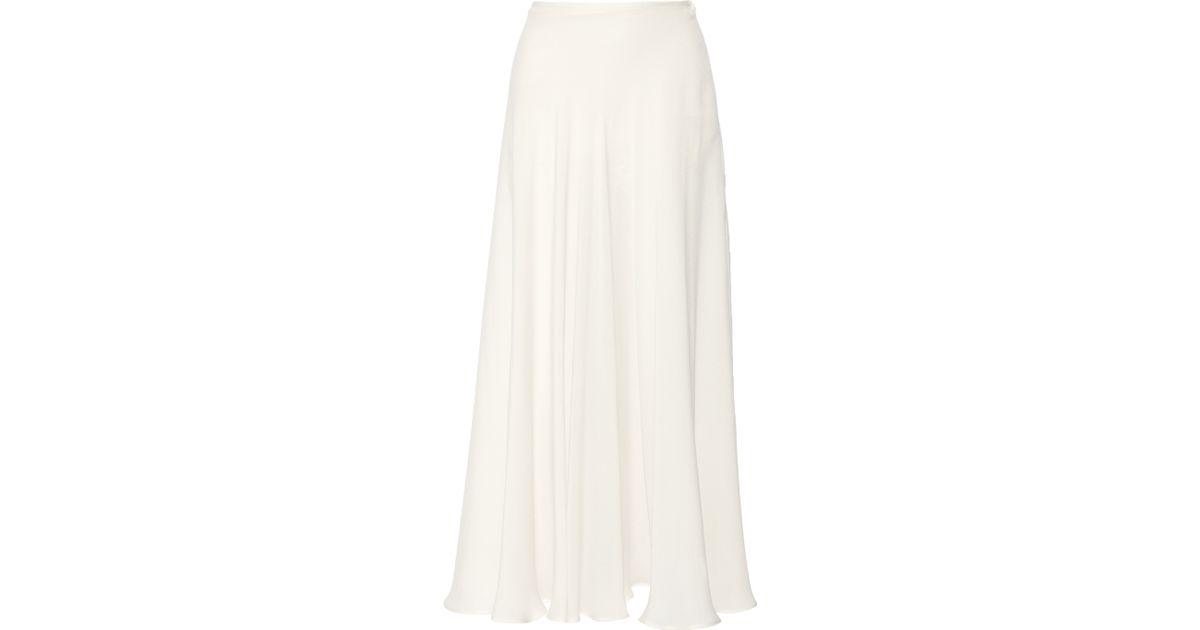Elie saab Silk-blend Crepe Maxi Skirt in White | Lyst