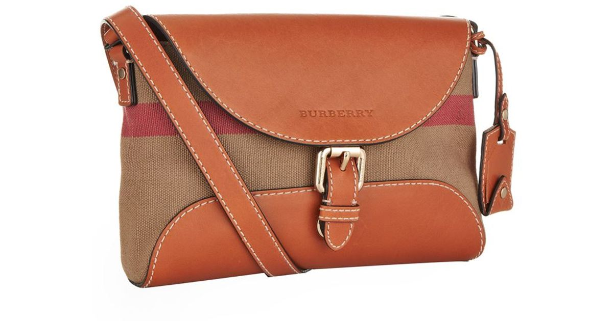 0afa867353e6 Burberry Small Leather Detail Canvas Check Crossbody Bag in Brown - Lyst