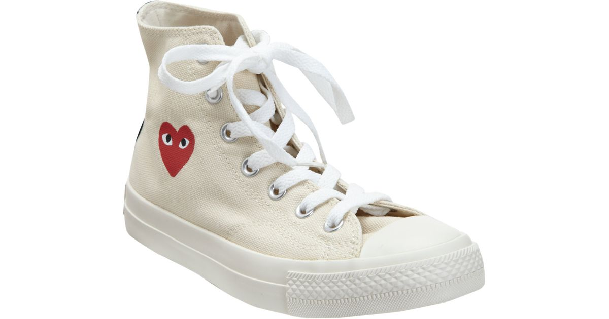 54d1d45b369f Play Comme des Garçons Play Chuck Taylor All Star Canvas High-Top Sneakers  in White - Lyst