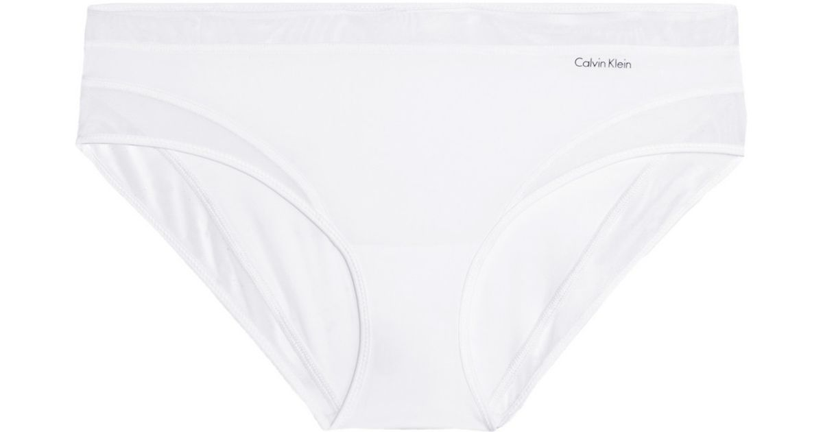 Calvin Klein Woman Naked Touch Mesh-trimmed Stretch-satin Low-rise Briefs Sky Blue Size M Calvin Klein Outlet Cheap Prices Discounts Online Discounts Xa4OknQy5