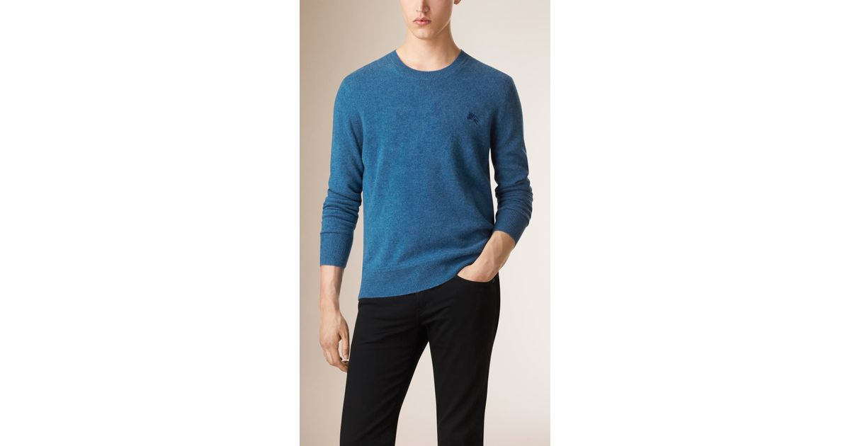 Burberry Crew Neck Cashmere Sweater Pale Canvas Blue in Blue for ...