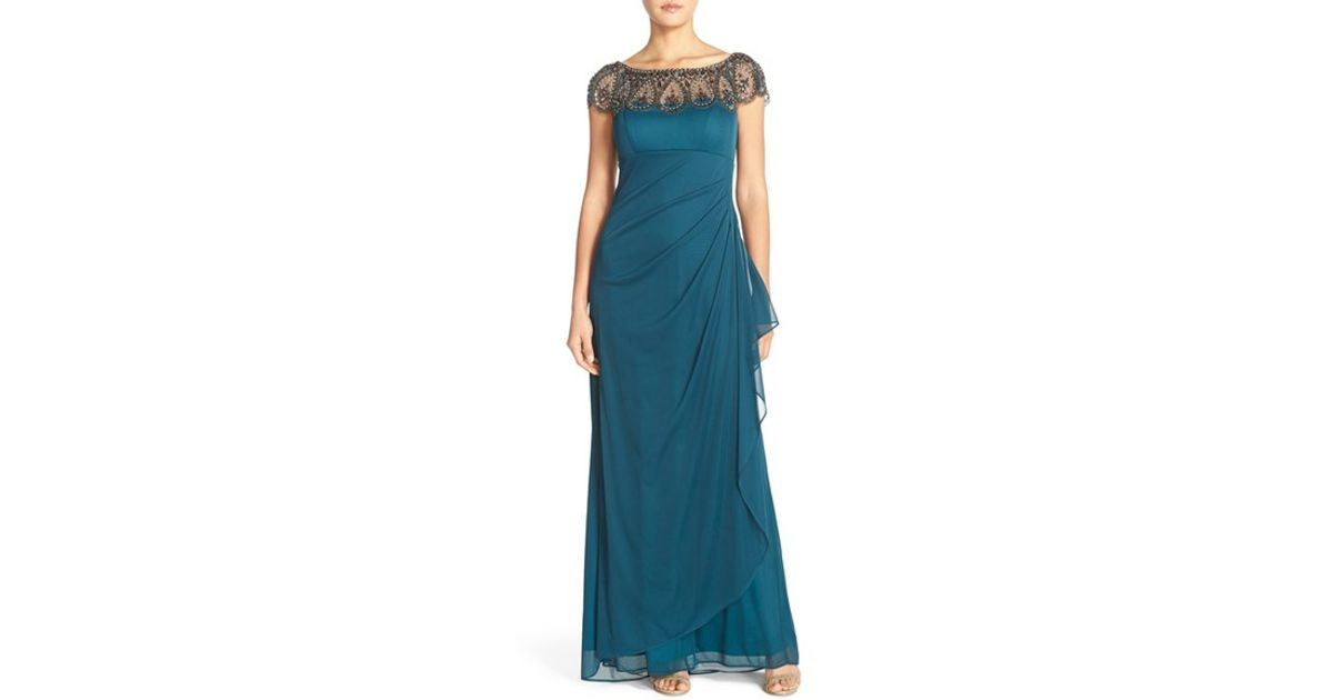 146762e0 Xscape Embellished Illusion Ruched Jersey Gown in Green - Lyst