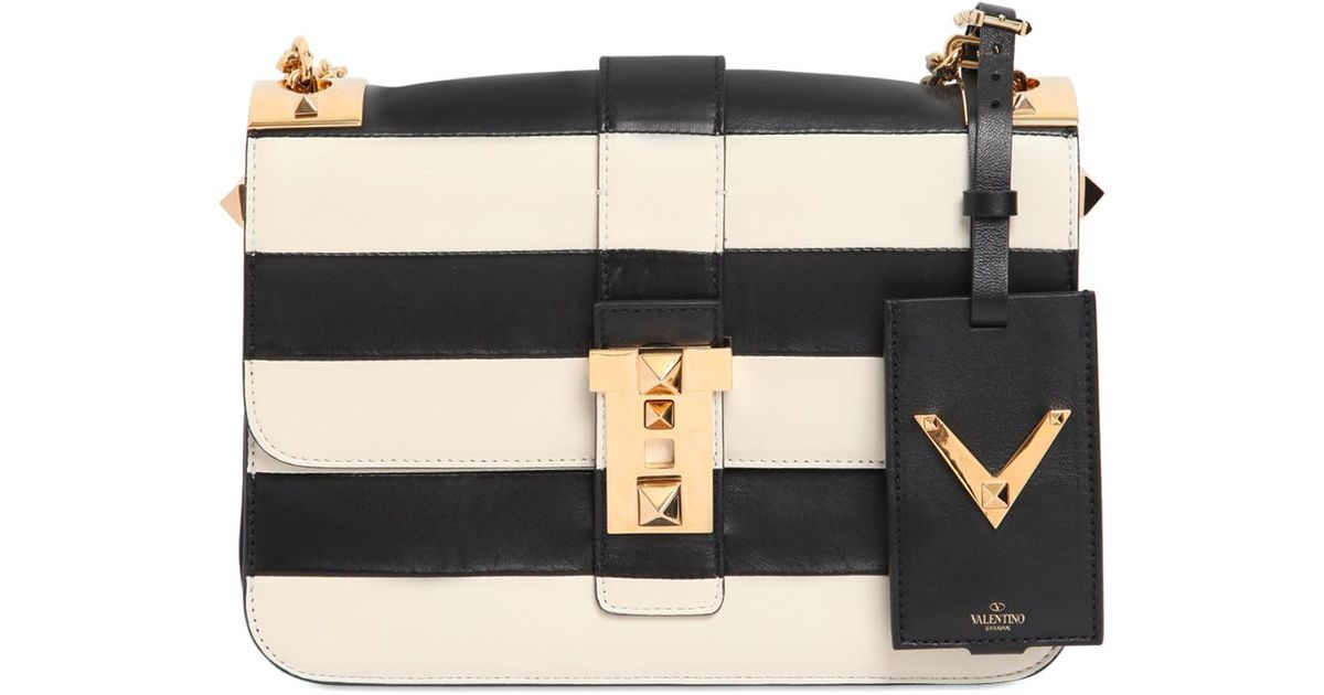 d771b93a659 Valentino B-rockstud Striped Leather Shoulder Bag in White - Lyst