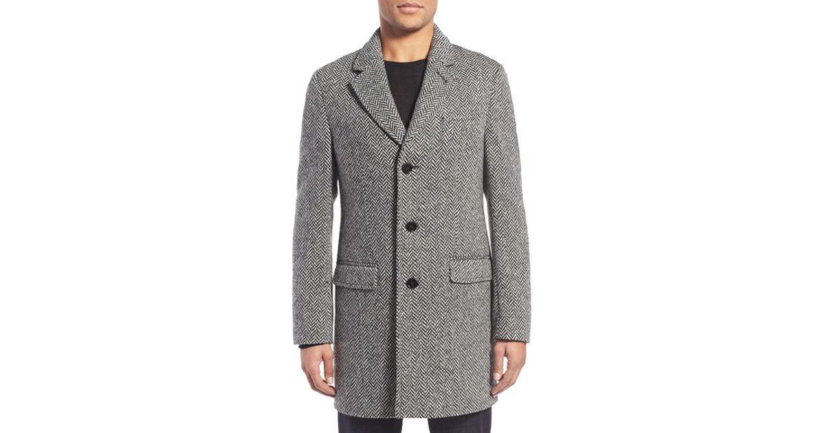 Slate And Stone Clothing : Lyst slate stone hudson herringbone topcoat in gray