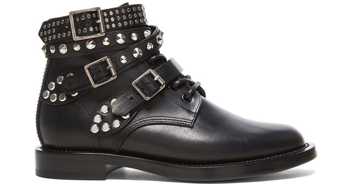 f082e8a9d6a Lyst - Saint Laurent Rangers Studded Leather Combat Boots in Flat Lace-Up  ...