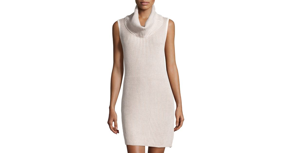 Neiman marcus Cowl-neck Sleeveless Sweaterdress in Natural | Lyst