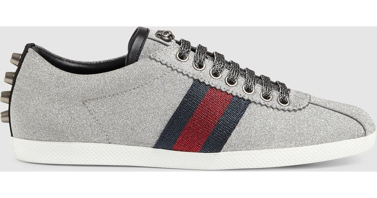 Gucci Glitter Web Sneaker With Studs In Metallic Lyst