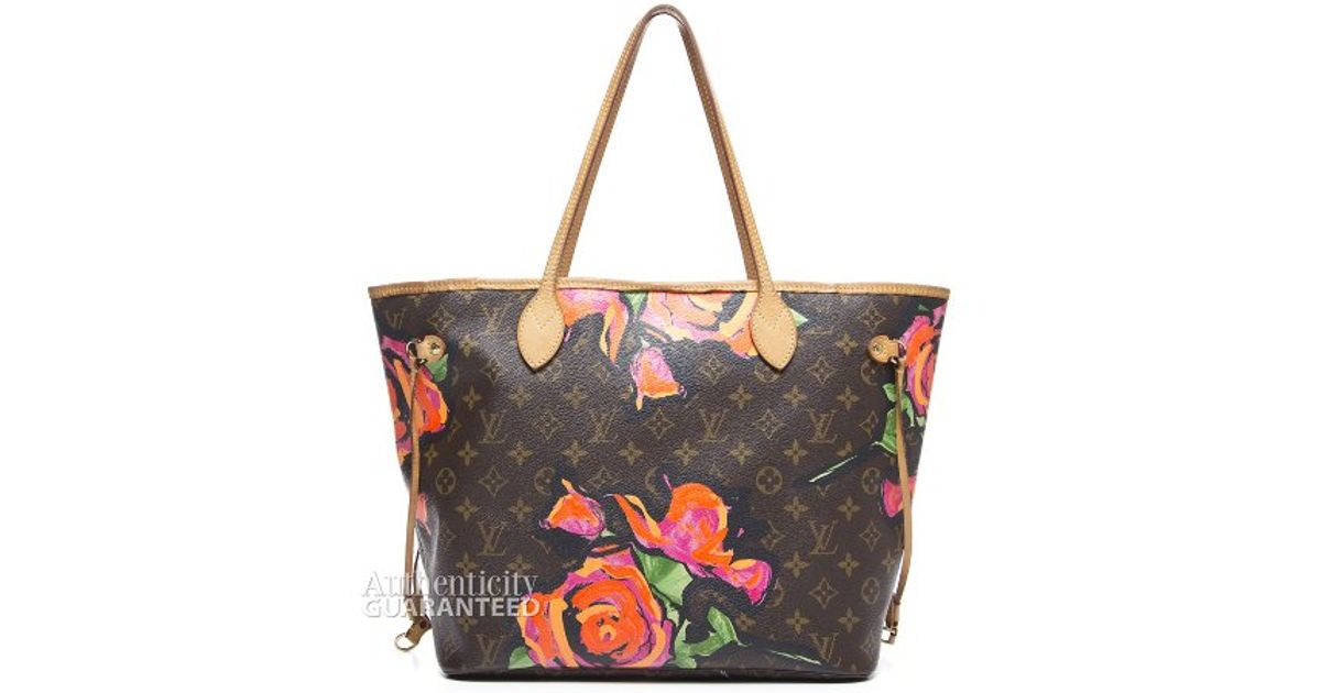 Lyst Louis Vuitton Preowned Stephen Sprouse Monogram Canvas Roses Neverfull Mm Tote Bag In Brown