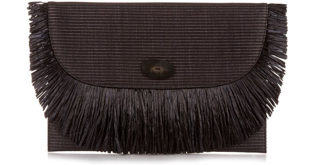 Lily Woven Faux Raffia Bucket Bag - Black Carrie Forbes TzcA5AD