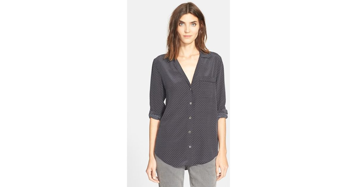 101af8881b8f3f Lyst - Equipment  keira  Dot Print Silk Blouse in Gray