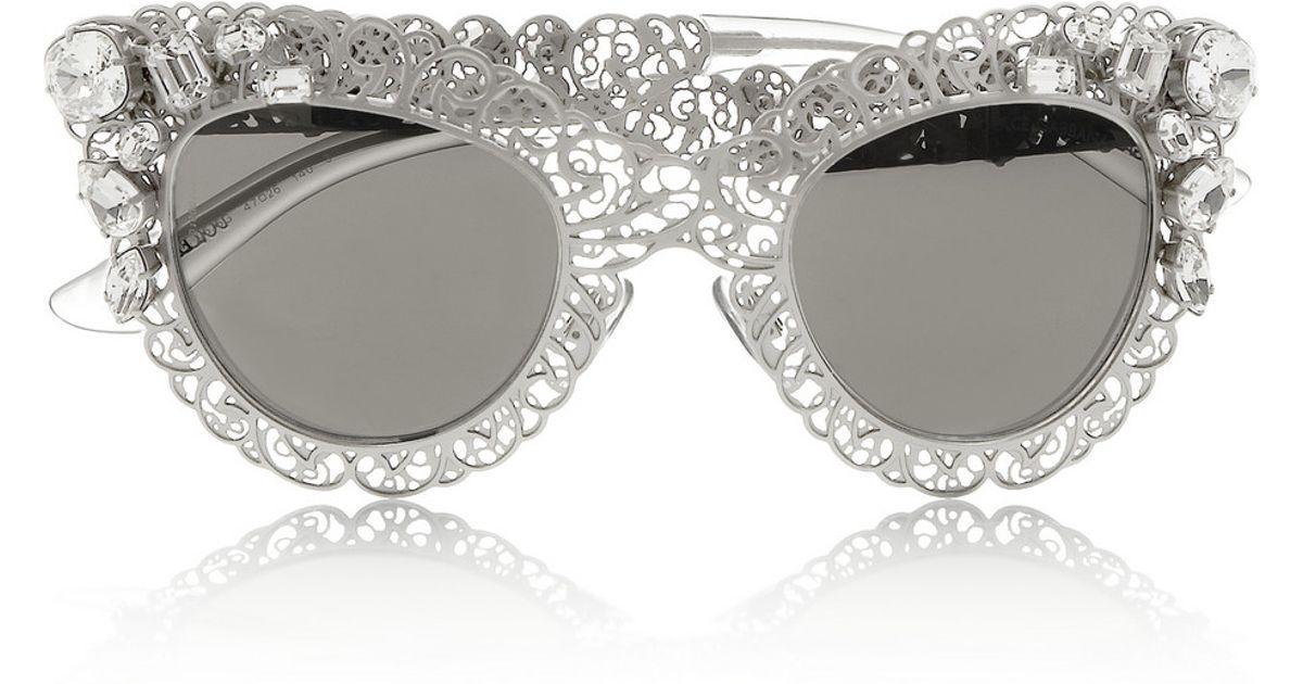 816e9ddb802 Lyst - Dolce   Gabbana Cat Eye Filigree Silver-Tone Sunglasses in Metallic