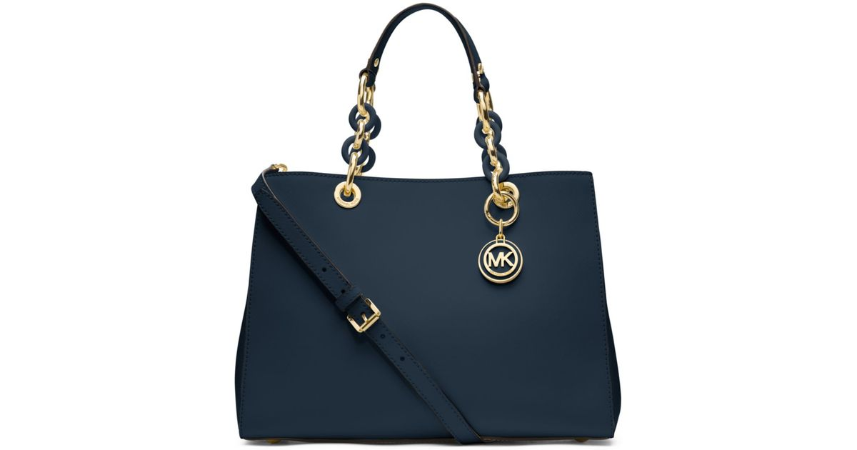 michael kors cynthia medium leather satchel in blue navy save 30. Black Bedroom Furniture Sets. Home Design Ideas